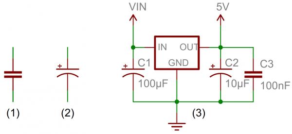 (1) et (2) sont des symboles de condensateur standard. (3) C'est un exemple d'un symbole de capacité agissant sur un circuit de régulation de tension.