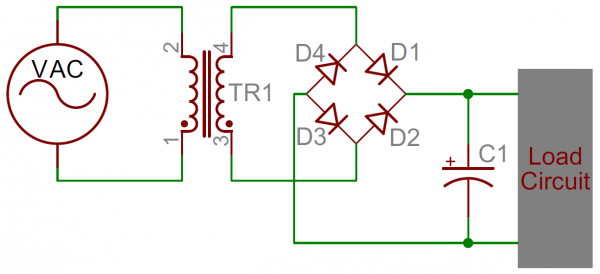 Un circuit source de puissance à DC. Le filtre à condensateur (C1) est critique d'adoucir le signal de CA envoyé au circuit de charge.